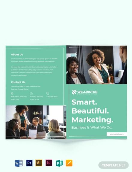 modern advertising company bi fold brochure template