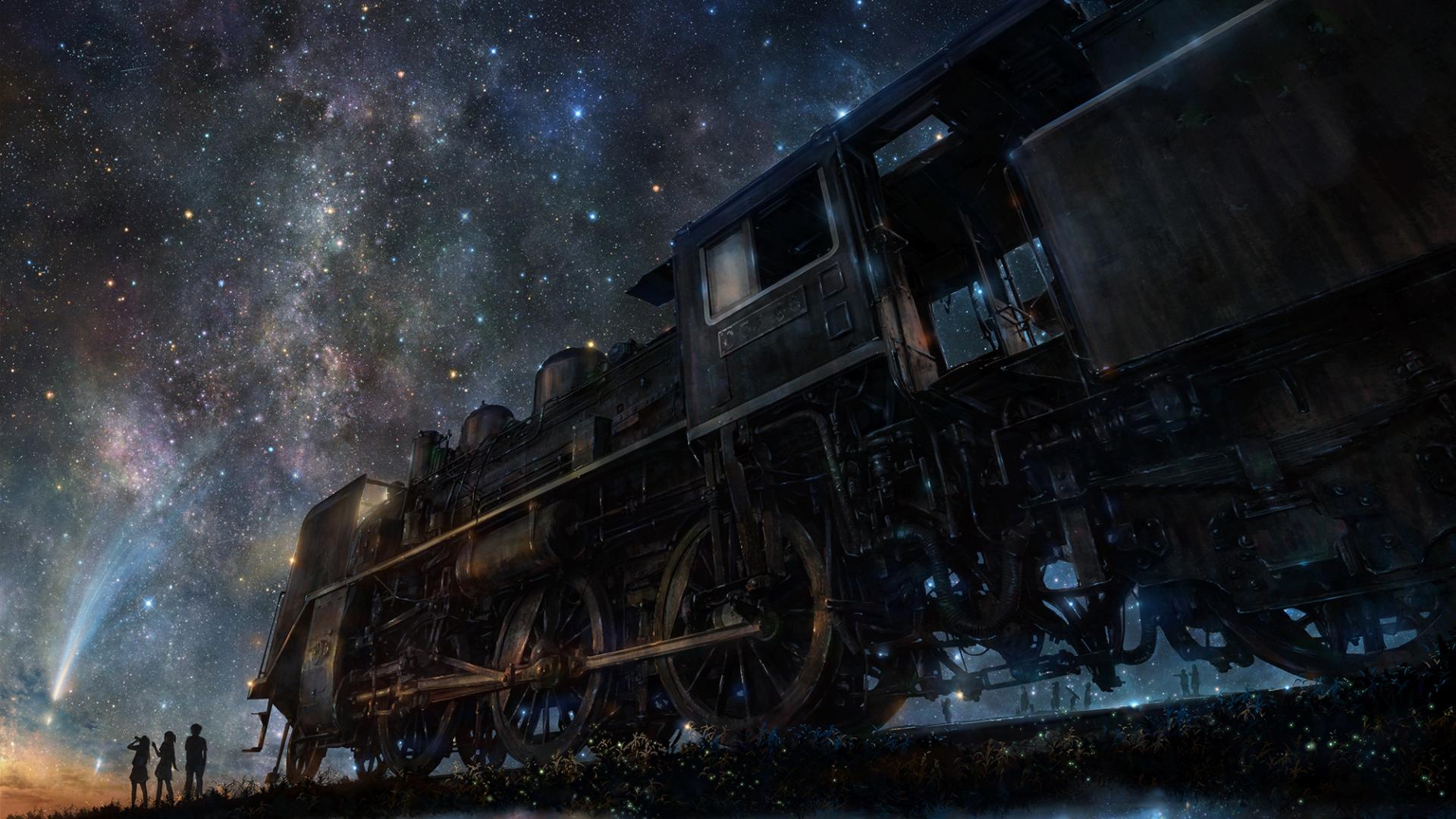 Night Train Starry sky Wallpaper