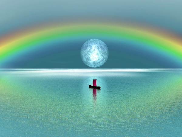 Peaceful Rainbow Moon Photography