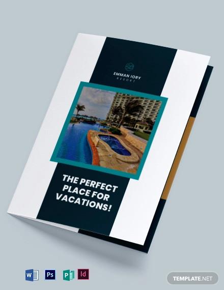 resort promotional bi fold brochure template