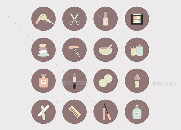 Rounded Beauty Icon Set