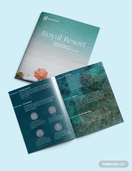 royal resort bi fold brochure template