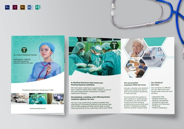 Simple Medical Bi-Fold Brochure Template