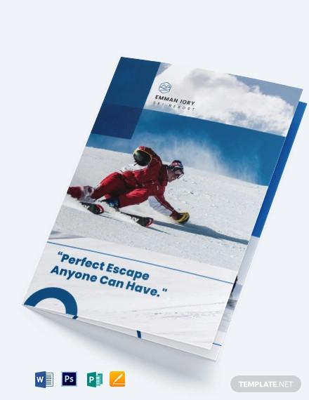 ski resort bi fold brochure template