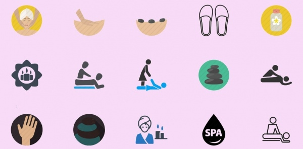 Spa Massage Icons Collection Set