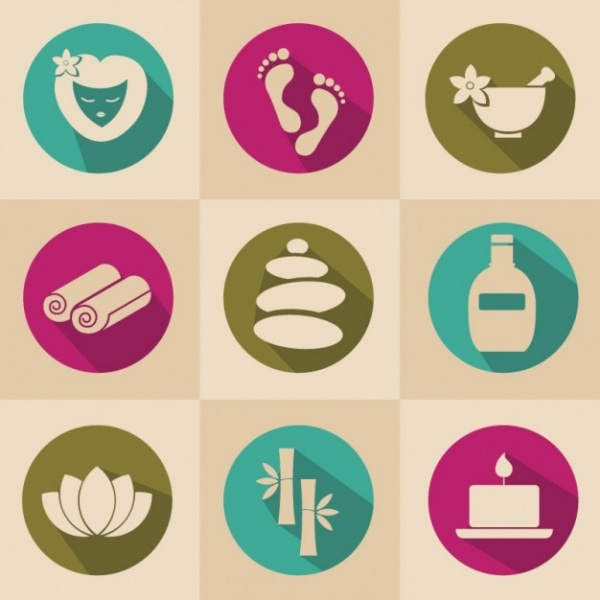 Spa Therapy Relaxation Icons