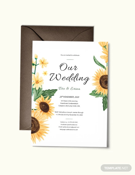 sunflower wedding invitation template