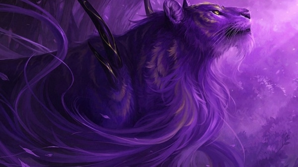 Terrific Purple Lion Wallpaper