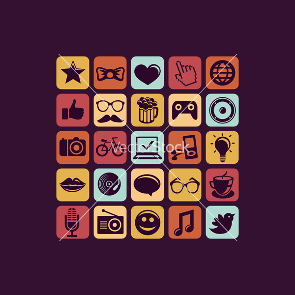 Trendy Hipster Icons Vector