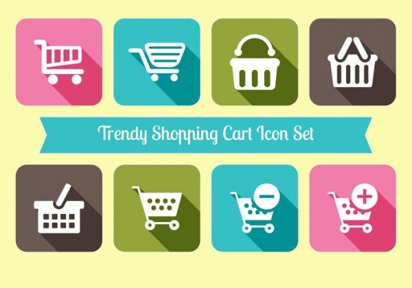 Trendy Shopping Cart Icon Set