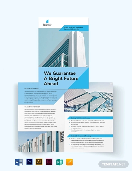 commercial property management bi fold brochure template