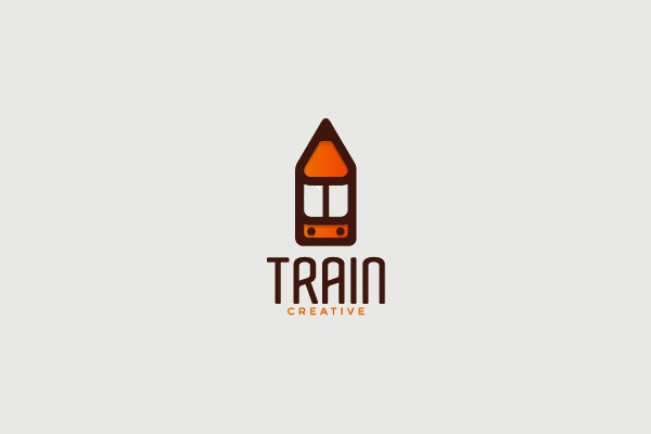 creative Pencil Train Logo