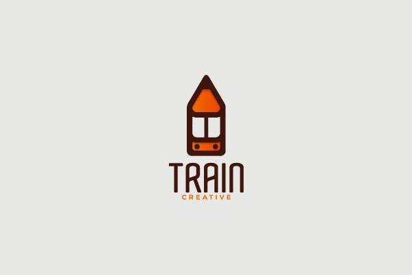 creative Pencil Train Logo