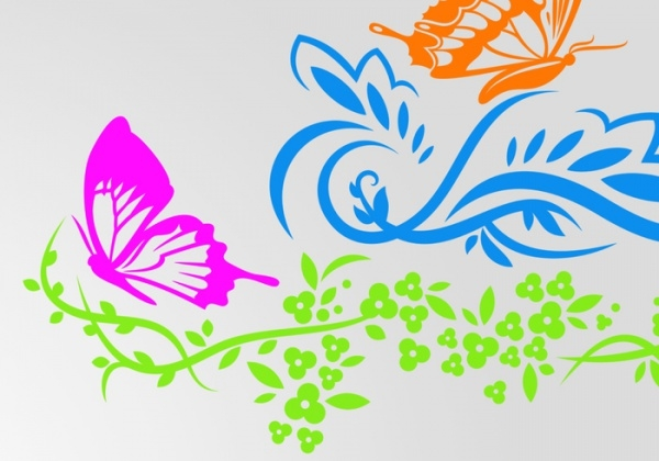 floral butterfly & flowers