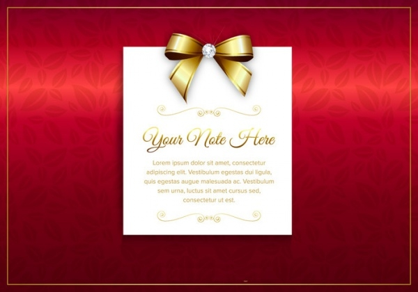 luxury vector card with golden ribbon