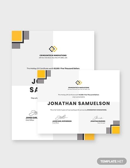 modern company gift certificate