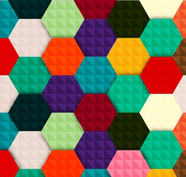 multicolored hexagon vector background