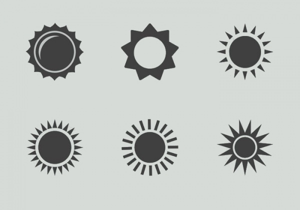 set of assorted Sun icons