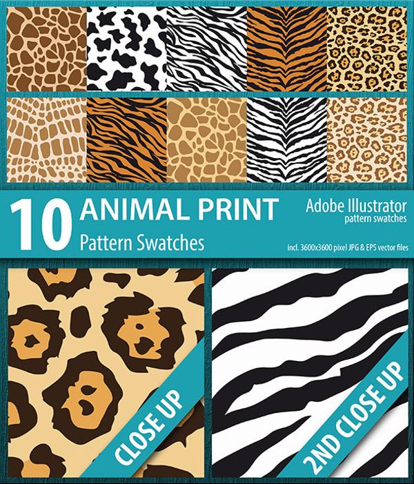 10 Animal Print Pattern Swatches