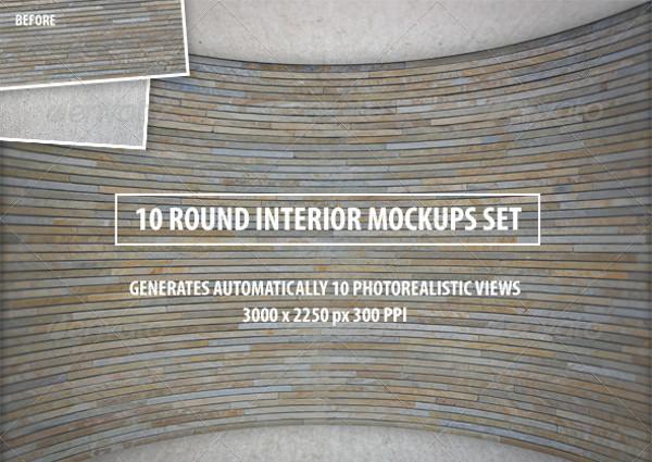 10 Round Interior Mockups Set
