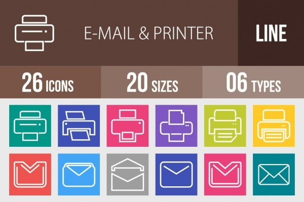 26 Email & Printer Line Multicolor Icons