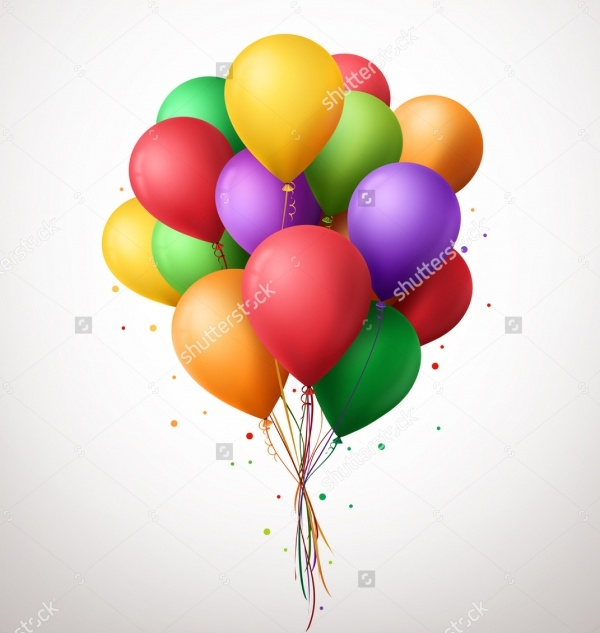 3d realistic colourful bunch of balloon vector