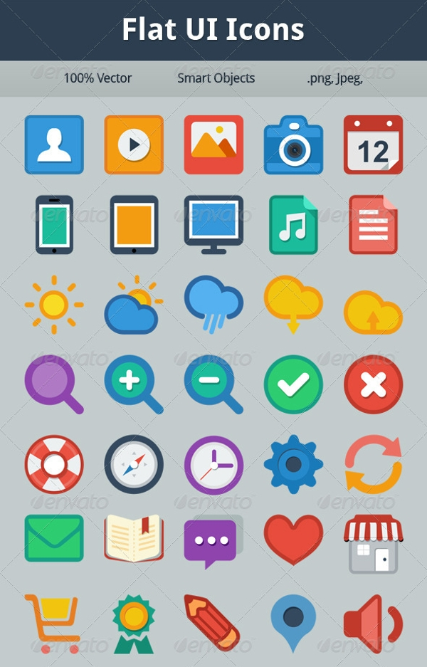 40 Flat UI Icons
