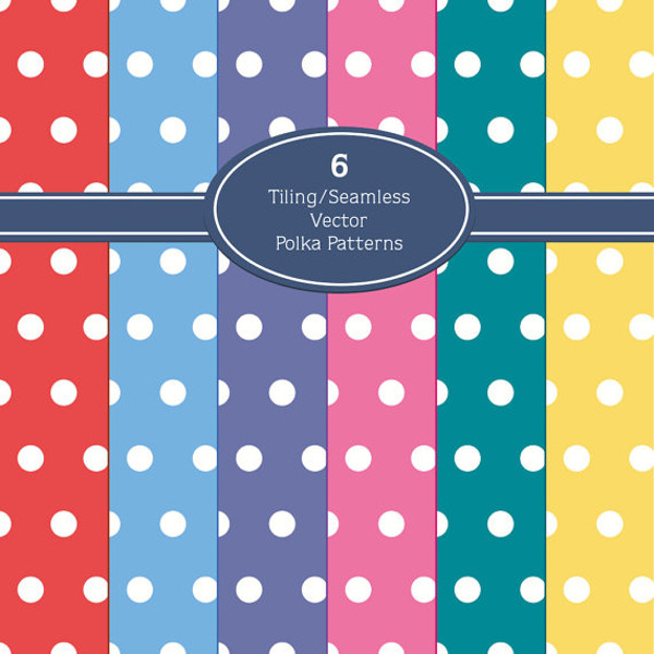 6 Retro Colored Polka Dot Patterns