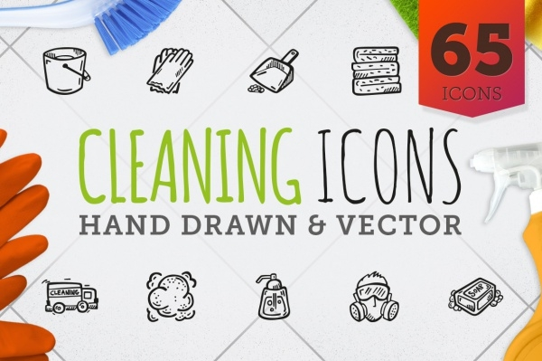 65 Hand Drawn Vector Cleaning Icons