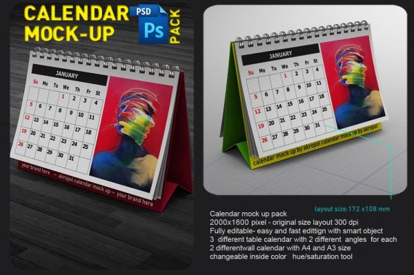 8 calendar mock up pack