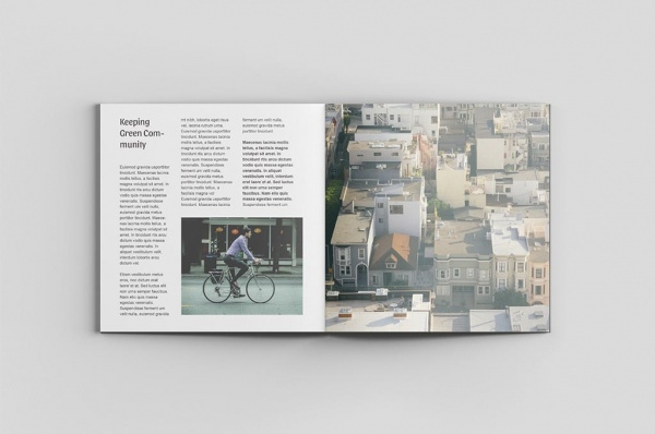 8 Mockups of a square brochure