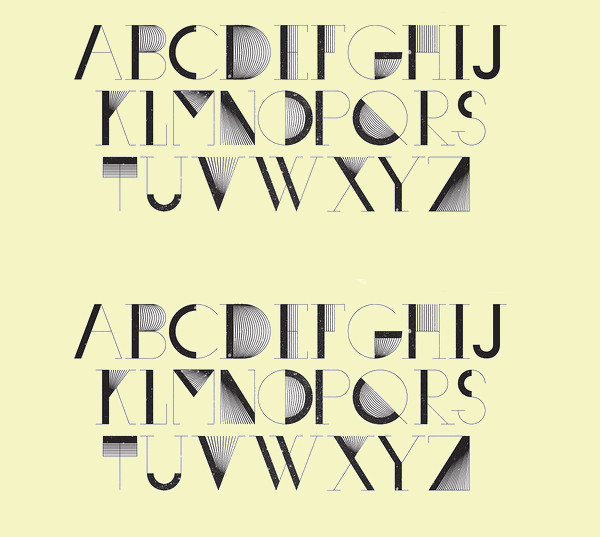 Abstract vector font lines