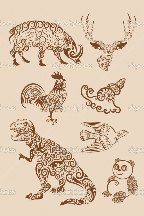 Animal ornaments vector