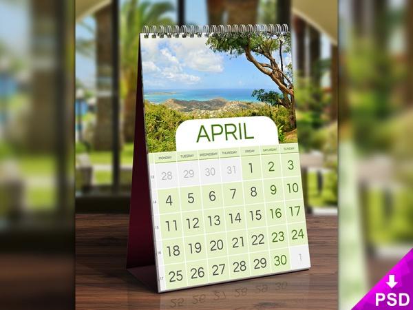 april desk calendar mockup