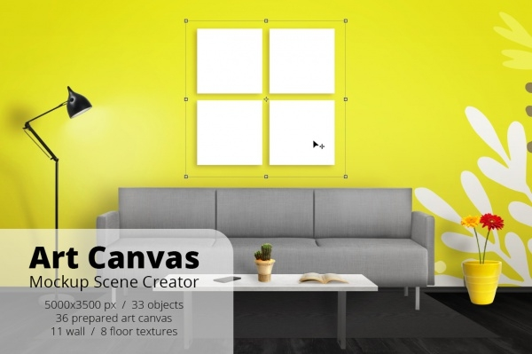 Art Canvas Mockup Scene