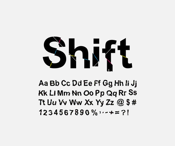Back Abstract shift font vector