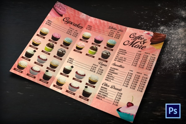 Bakery Cafe Menu .Tri Fold Brochure