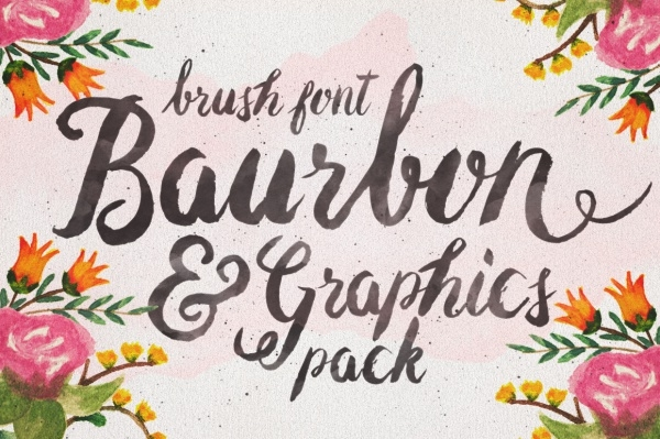 Baurbon and Graphics Brush font