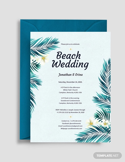 16 Beach Wedding Invitations Psd Vector Eps Ai