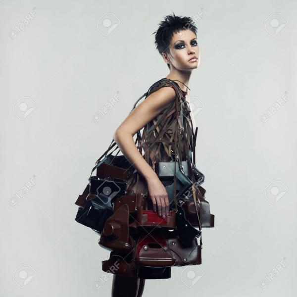 Beautiful girl in an unusual dress