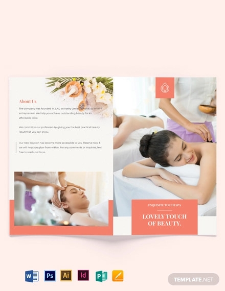 beauty spa bi fold brochure template