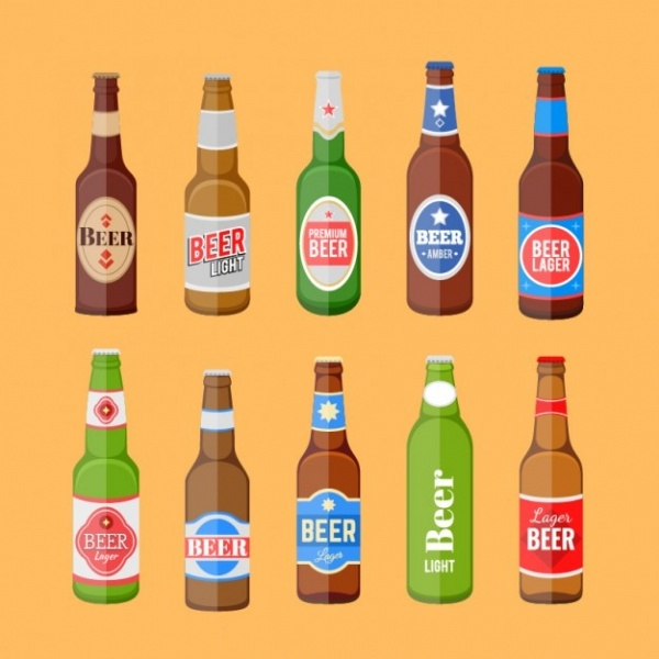 Beer bottles set with label Vector