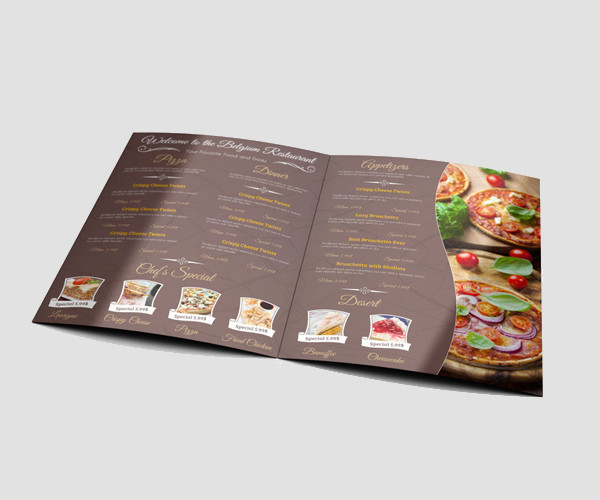 Bi Folded Restaurant Menu Mock-Up