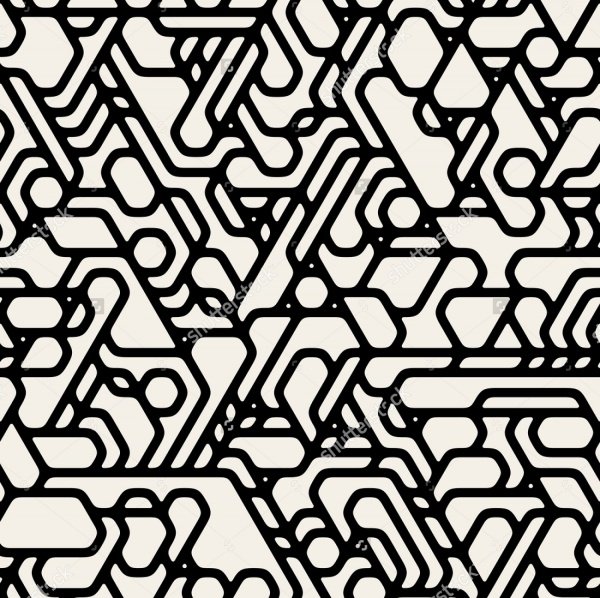 Black And White Futuristic Techno Alien Pattern