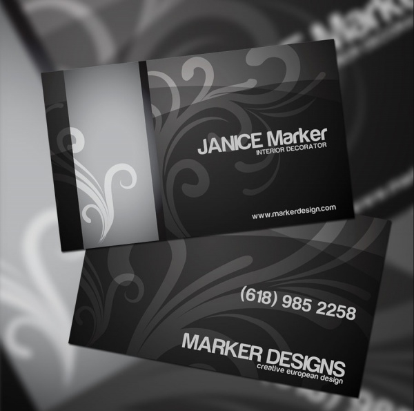 Black Interior Design Business Card