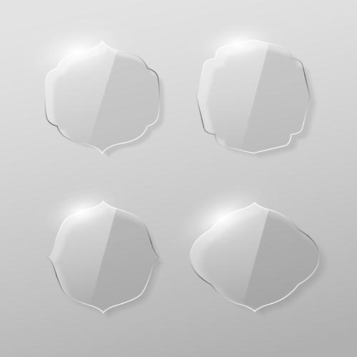 Blank labels transparent glass vector