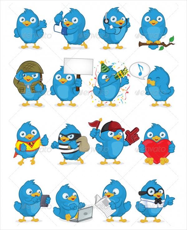 Blue Bird Vector Pack