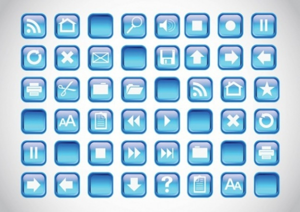 Blue Icons Fax Buttons