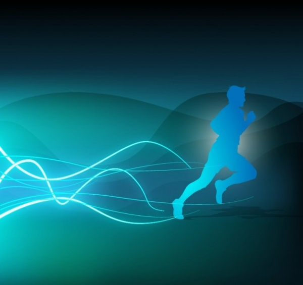 Blue runner silhouette background Vector