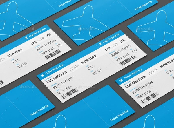 Boarding Ticket Flight Mockup